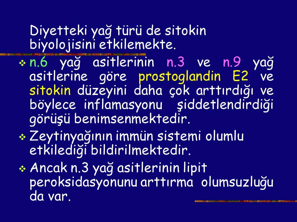 Diyetteki yağ türü de sitokin biyolojisini etkilemekte.  n.6 yağ asitlerinin n.3 ve n.9 yağ asitlerine göre prostoglandin E2 ve sitokin düzeyini daha