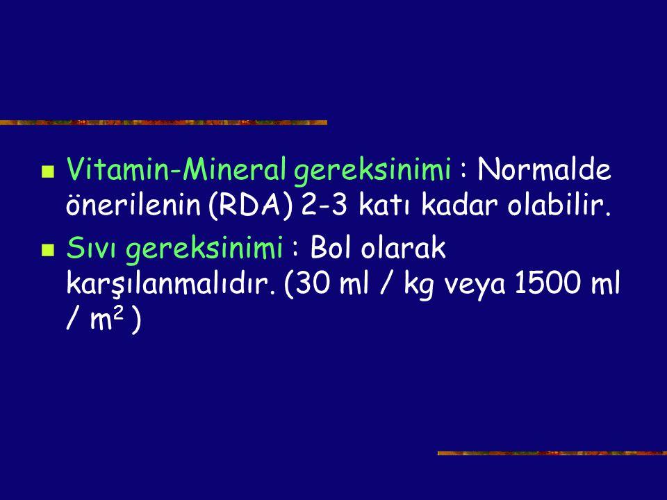 Vitamin-Mineral gereksinimi : Normalde önerilenin (RDA) 2-3 katı kadar olabilir. Sıvı gereksinimi : Bol olarak karşılanmalıdır. (30 ml / kg veya 1500