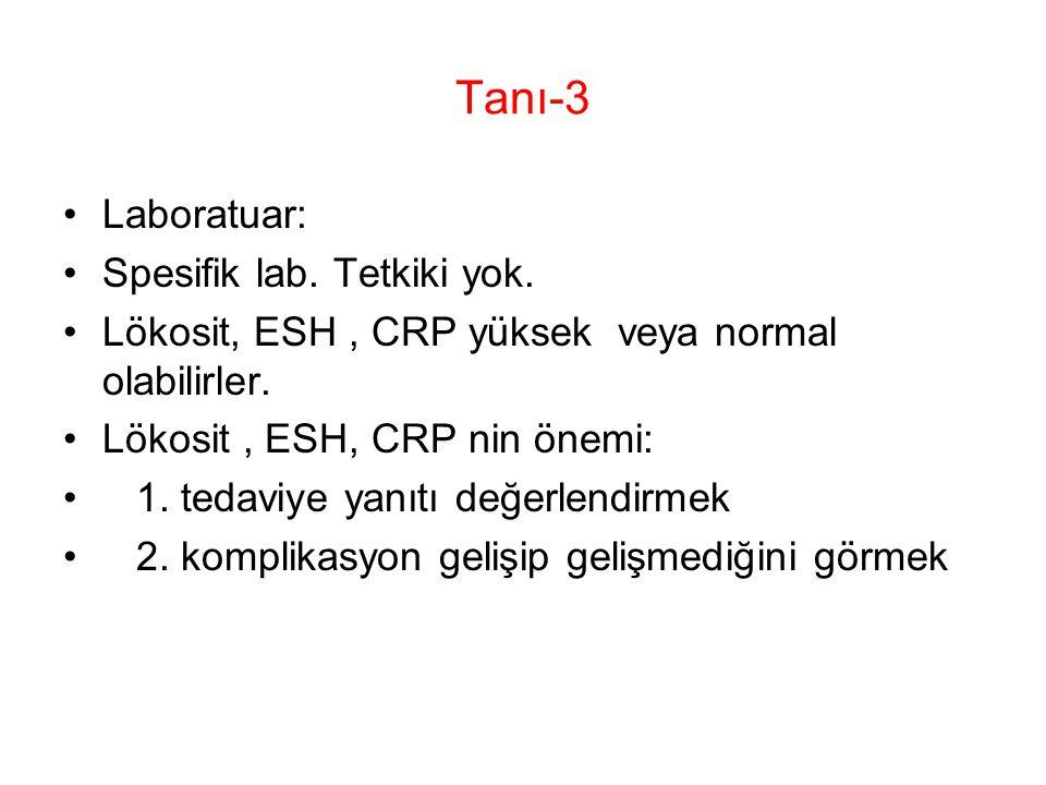 Tanı-3 Laboratuar: Spesifik lab. Tetkiki yok. Lökosit, ESH, CRP yüksek veya normal olabilirler. Lökosit, ESH, CRP nin önemi: 1. tedaviye yanıtı değerl