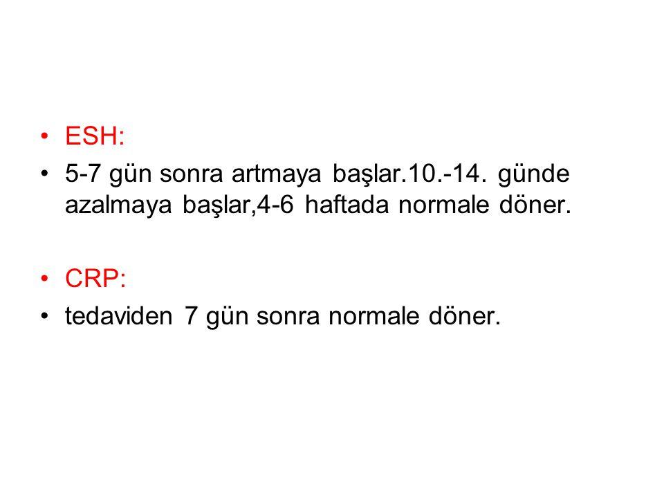 ESH: 5-7 gün sonra artmaya başlar.10.-14. günde azalmaya başlar,4-6 haftada normale döner. CRP: tedaviden 7 gün sonra normale döner.