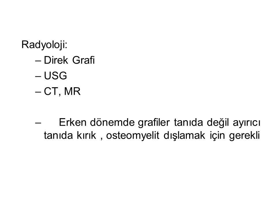Radyoloji: –Direk Grafi –USG –CT, MR – Erken dönemde grafiler tanıda değil ayırıcı tanıda kırık, osteomyelit dışlamak için gerekli