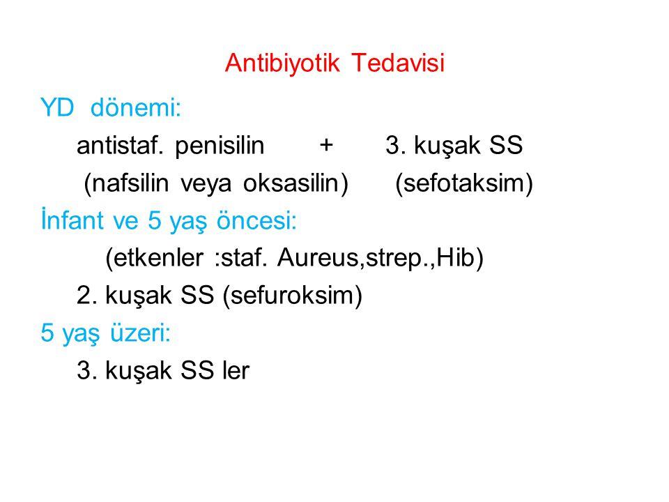 Antibiyotik Tedavisi YD dönemi: antistaf. penisilin + 3. kuşak SS (nafsilin veya oksasilin) (sefotaksim) İnfant ve 5 yaş öncesi: (etkenler :staf. Aure