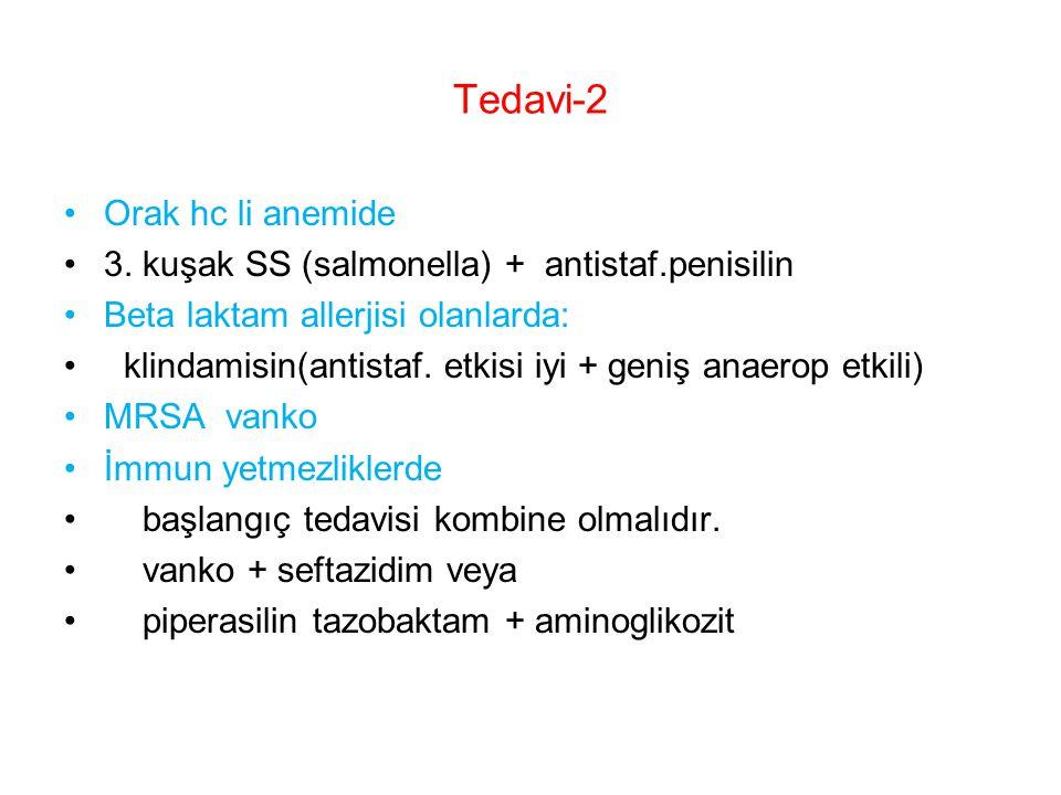 Tedavi-2 Orak hc li anemide 3. kuşak SS (salmonella) + antistaf.penisilin Beta laktam allerjisi olanlarda: klindamisin(antistaf. etkisi iyi + geniş an