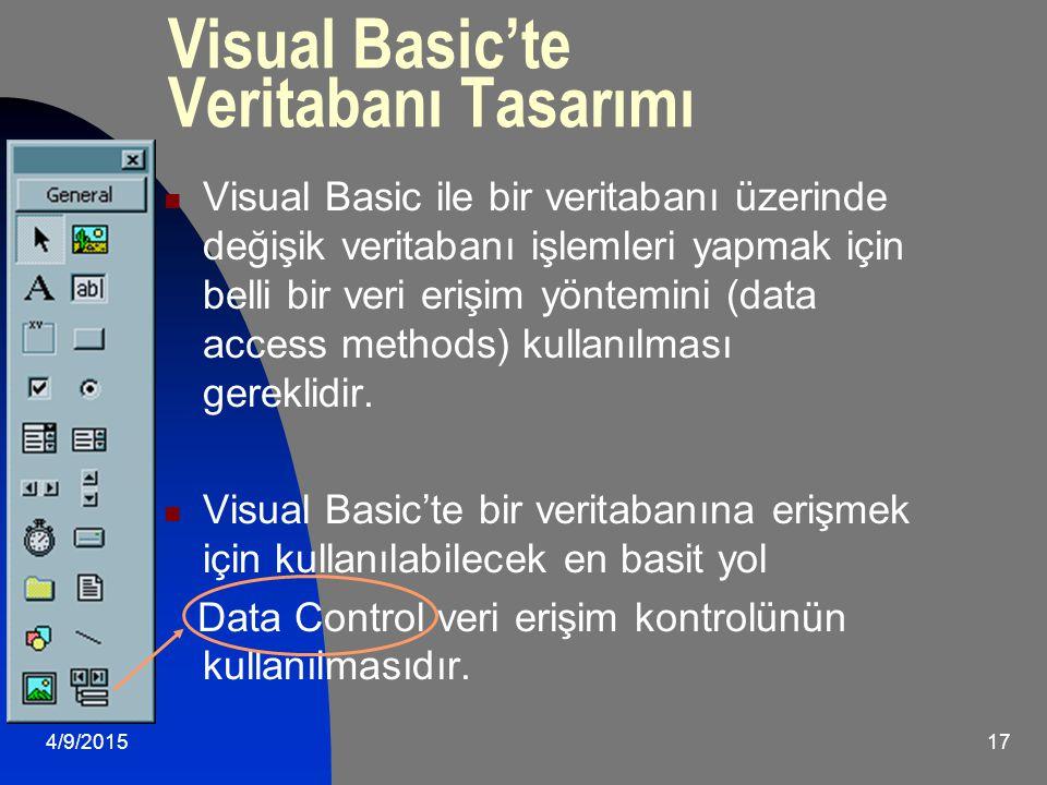 4/9/201517 Visual Basic'te Veritabanı Tasarımı Visual Basic ile bir veritabanı üzerinde değişik veritabanı işlemleri yapmak için belli bir veri erişim yöntemini (data access methods) kullanılması gereklidir.