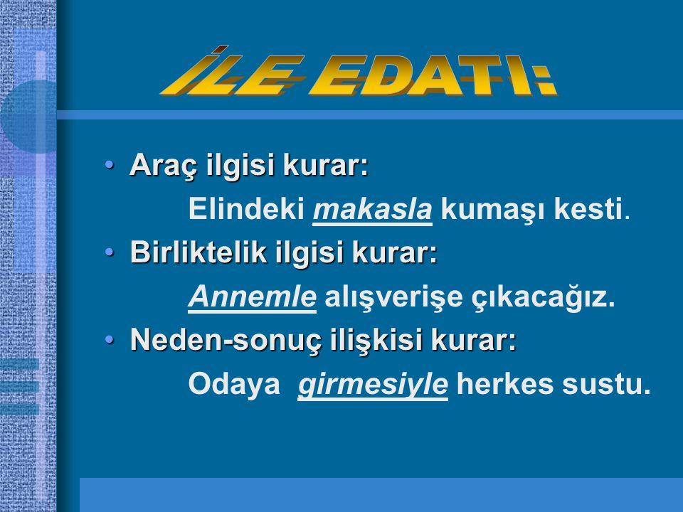 EDAT EDAT:Kendi başlarına anlamları olmayan anlamları cümle içinde beliren sözcüklerdir.