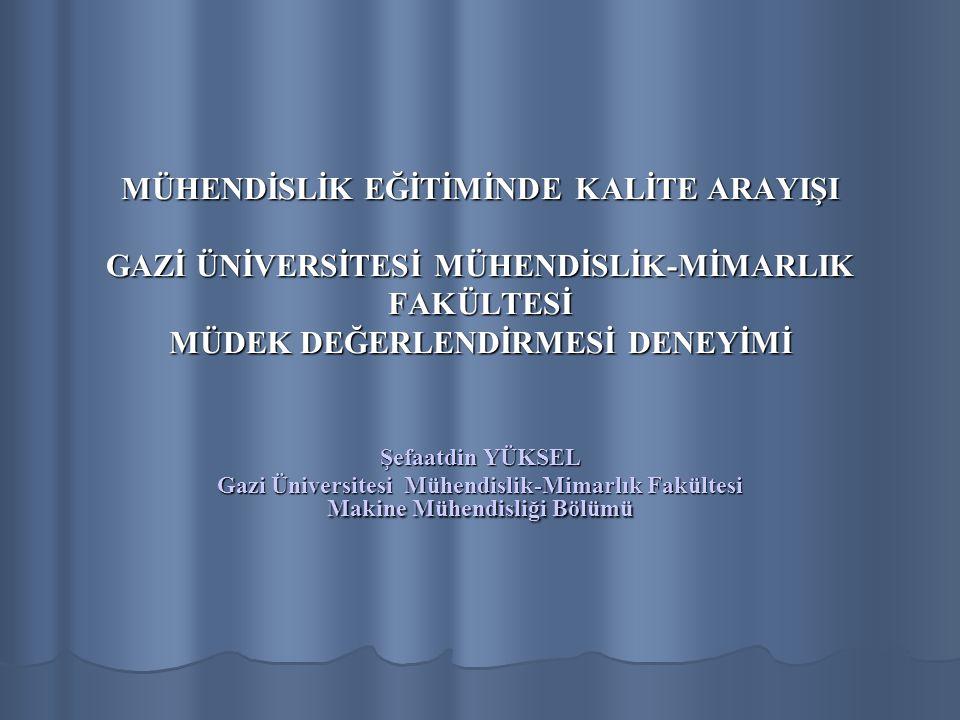 MÜHENDİSLİK EĞİTİMİNDE KALİTE ARAYIŞI GAZİ ÜNİVERSİTESİ MÜHENDİSLİK-MİMARLIK FAKÜLTESİ MÜDEK DEĞERLENDİRMESİ DENEYİMİ Şefaatdin YÜKSEL Gazi Üniversitesi Mühendislik-Mimarlık Fakültesi Makine Mühendisliği Bölümü
