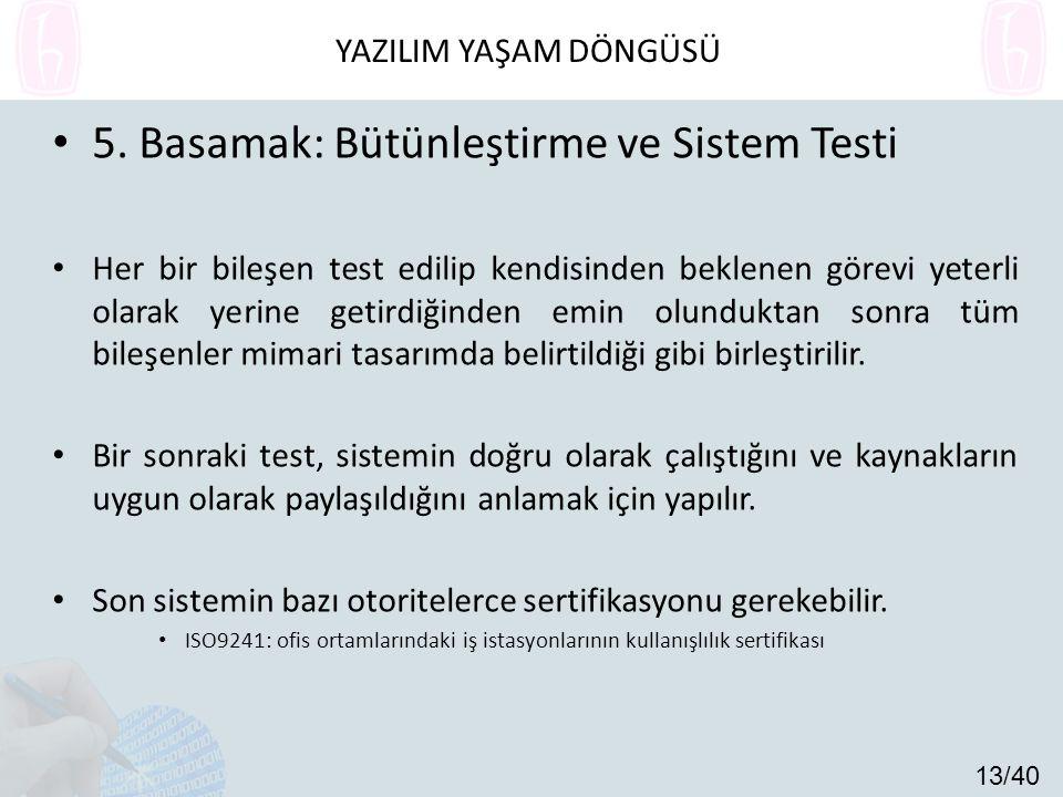 5. Basamak: Bütünleştirme ve Sistem Testi Her bir bileşen test edilip kendisinden beklenen görevi yeterli olarak yerine getirdiğinden emin olunduktan