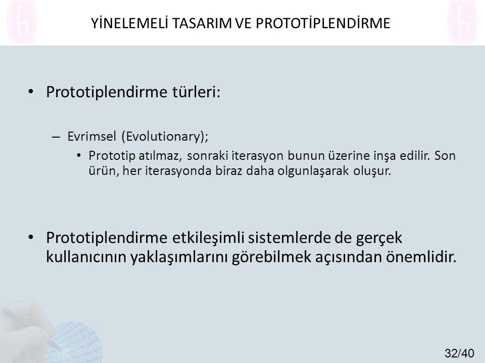 Prototiplendirme türleri: – Evrimsel (Evolutionary); Prototip atılmaz, sonraki iterasyon bunun üzerine inşa edilir.