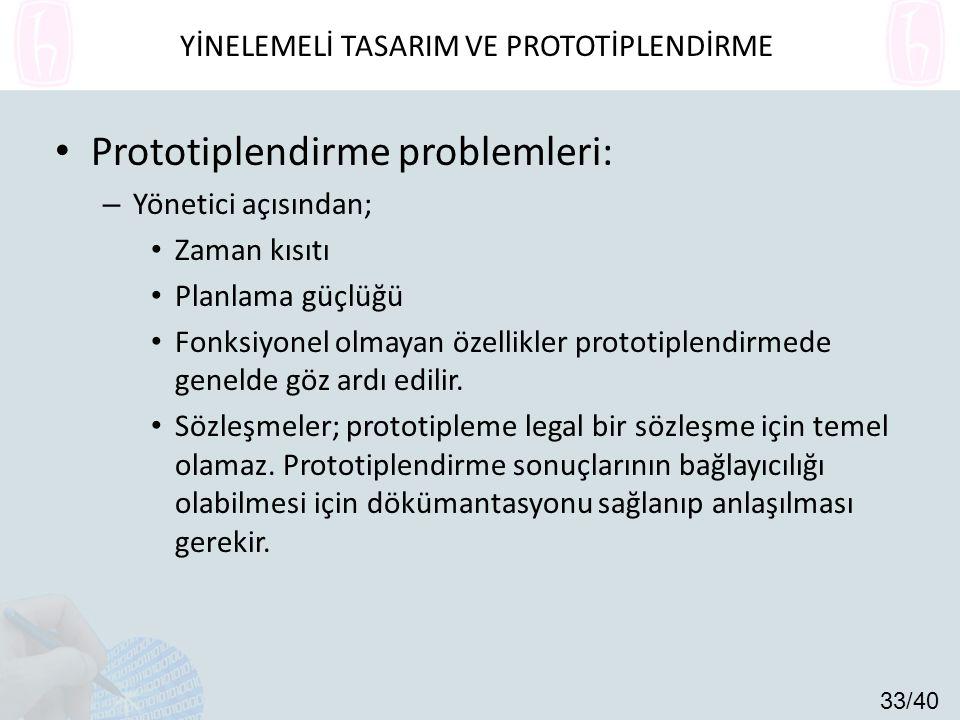 Prototiplendirme problemleri: – Yönetici açısından; Zaman kısıtı Planlama güçlüğü Fonksiyonel olmayan özellikler prototiplendirmede genelde göz ardı edilir.