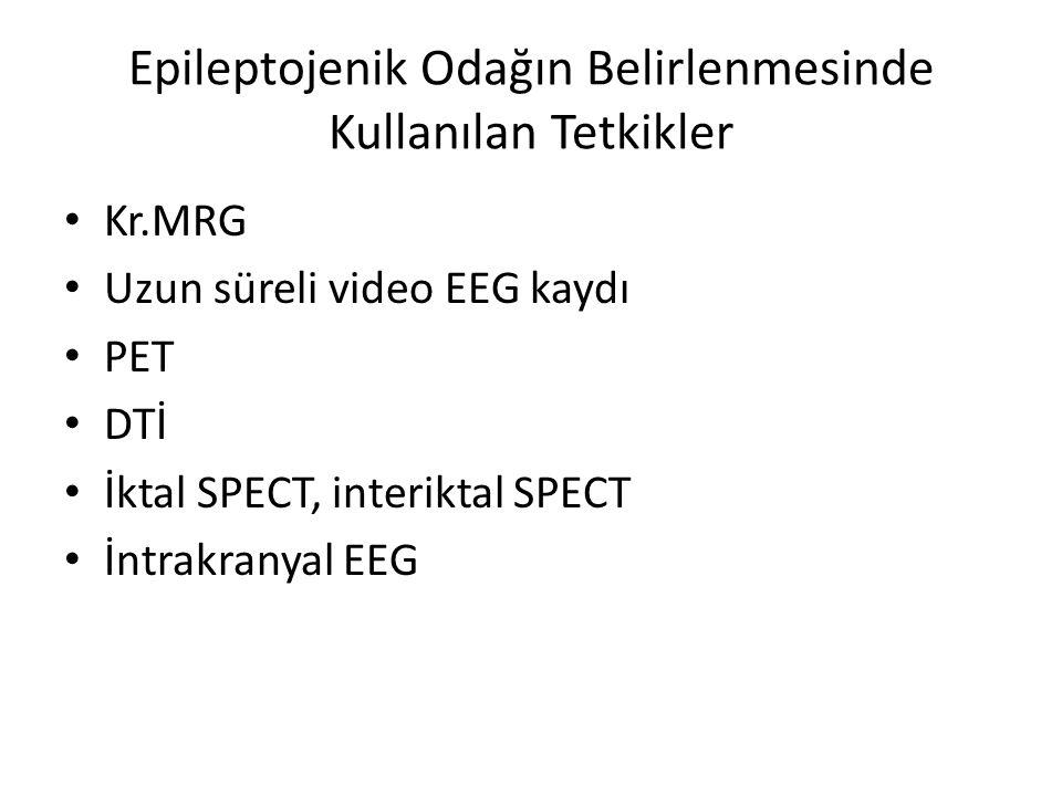 Epileptojenik Odağın Belirlenmesinde Kullanılan Tetkikler Kr.MRG Uzun süreli video EEG kaydı PET DTİ İktal SPECT, interiktal SPECT İntrakranyal EEG