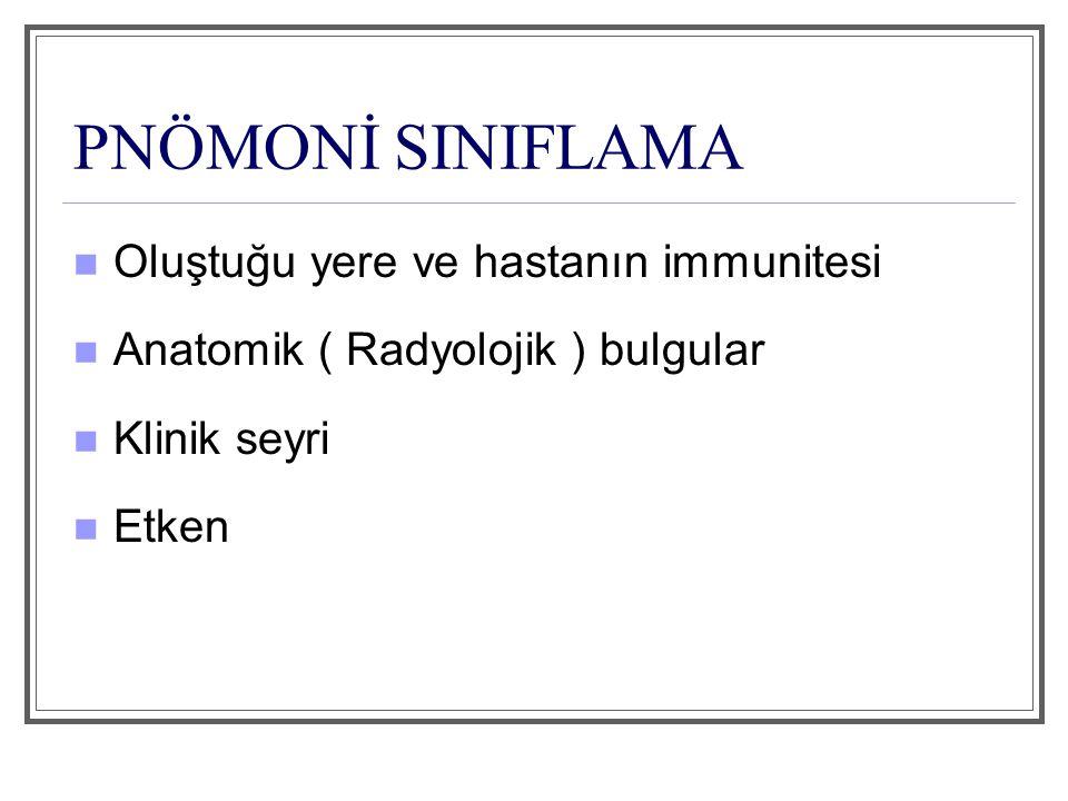 SINIFLAMA Pnömoninin oluştuğu yere ve hastanın bağışıklık durumuna göre: 1)Toplum kökenli pnömoni 2)Hastane kökenli pnömoni 3)Aspirasyon pnömonisi 4)Yaşlılık pnömonisi 5)Bağışıklığı baskılanmış hastalarda gelişen pnömoni Anatomik Bulgulara Göre: 1) Lober pnömoni 2) Lobüler pnömoni 3) İnterstitiyel pnömoni