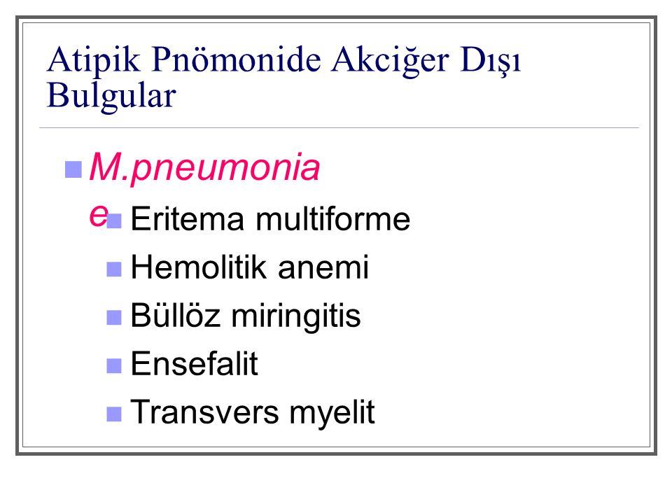 L.pneumophila Mental değişiklikler Hepatik - renal yetmezlik İshal Hiponatremi Rölatif bradikardi