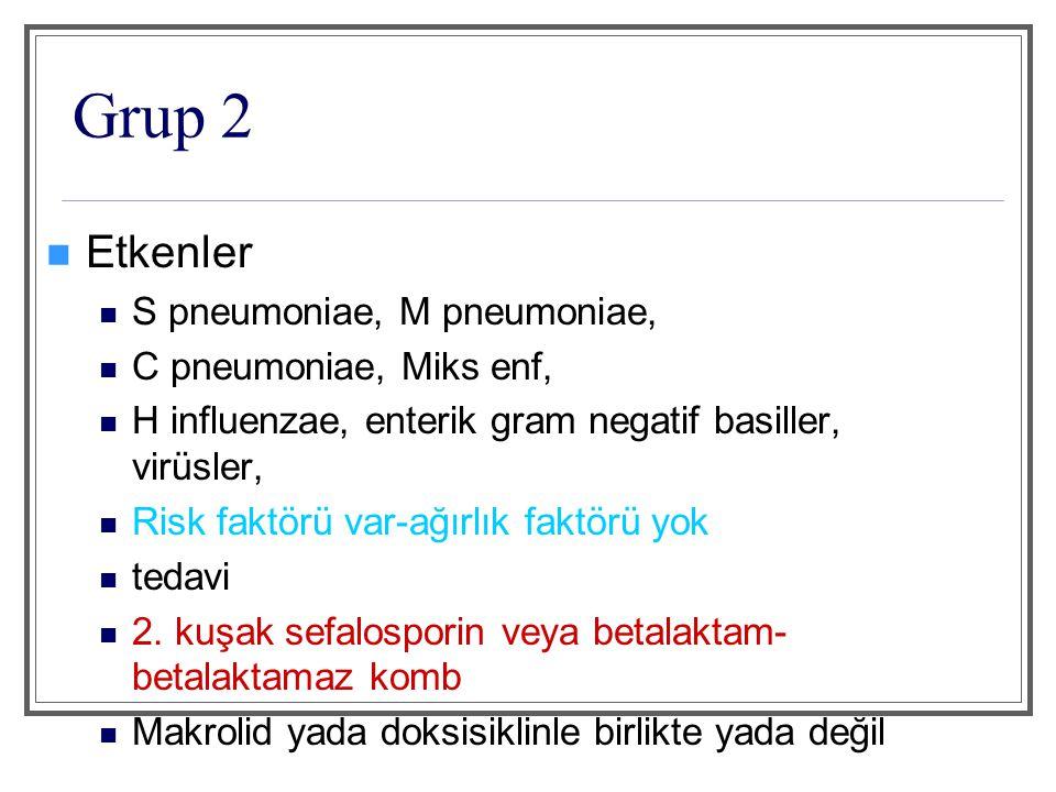 Grup 3 etkenler Grup 3a S pneumoniae H influenzae M pneumoniae C pneumoniae Miks infeksiyon Legionella Virüsler Grup 3b S pneumoniae H influenzae M pneumoniae C pneumoniae Miks infeksiyon Enterik gram negatif basiller Anaeroblar Virüsler Legionella Diğerleri