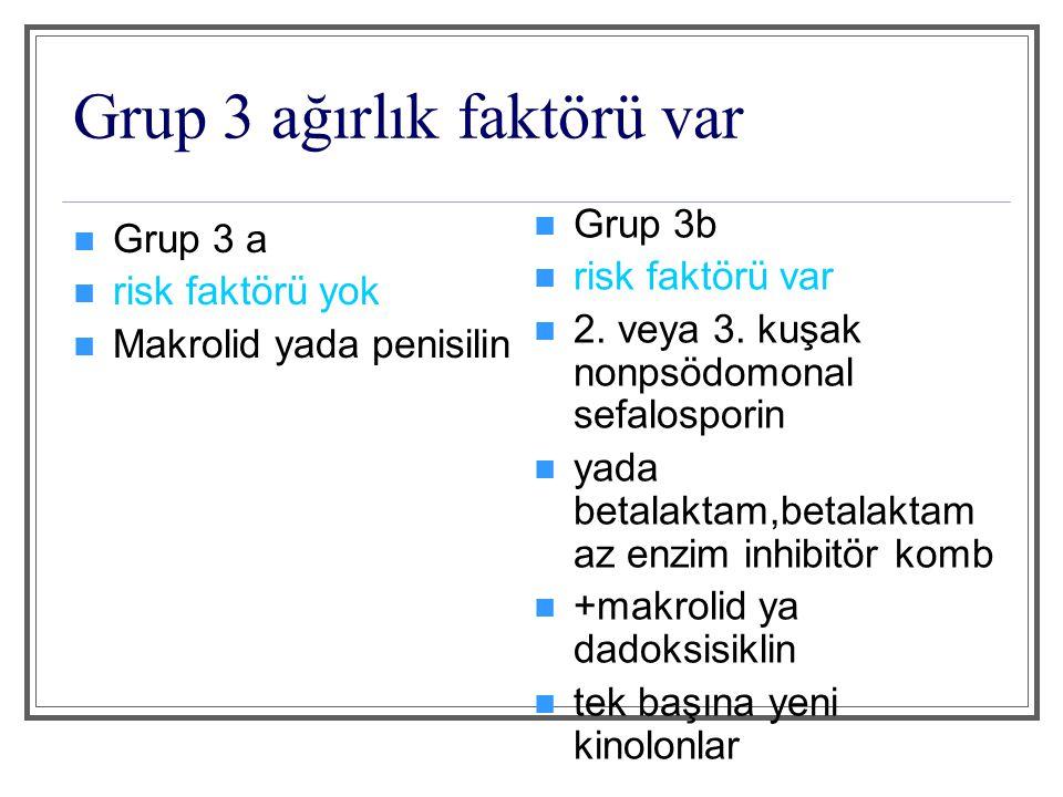 Grup 4 etkenler Grup 4a S pneumoniae (PDP dahil) Legionella spp H influenzae Enterik gram negatif basiller S aureus M pneumoniae Virüsler diğerleri Grup 4b P aeruginosa+grup a'daki patojenler