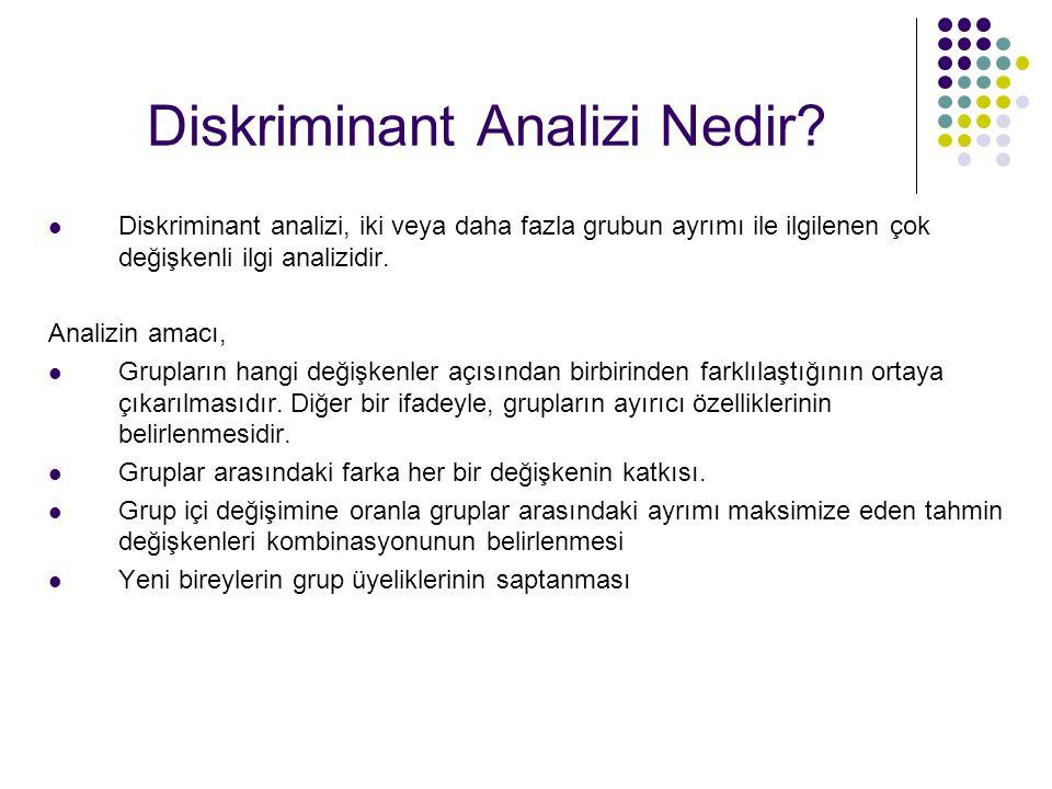 Diskriminant Analizi Nedir? Diskriminant analizi, iki veya daha fazla grubun ayrımı ile ilgilenen çok değişkenli ilgi analizidir. Analizin amacı, Grup