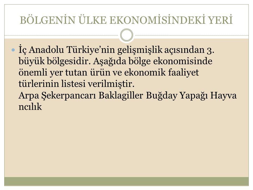 BÖLGENİN ÜLKE EKONOMİSİNDEKİ YERİ İç Anadolu Türkiye'nin gelişmişlik açısından 3. büyük bölgesidir. Aşağıda bölge ekonomisinde önemli yer tutan ürün v