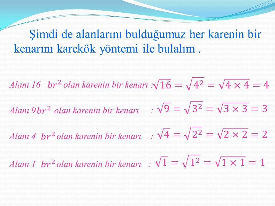 Görüldüğü üzere alanları verilen karelerin her bir kenarı birer Karekökleri tam sayı olan doğal sayılar {1,4,9,16,25,36,49,64,81,100,…} tam kare sayılar olarak adlandırılır.