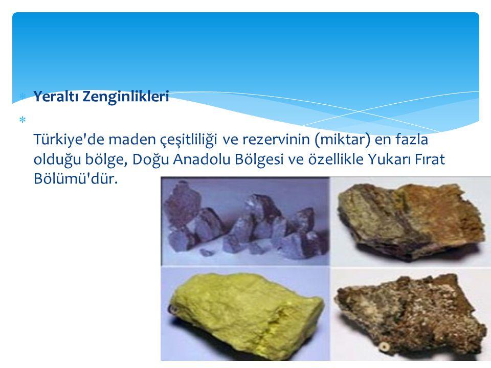  Yeraltı Zenginlikleri  Türkiye de maden çeşitliliği ve rezervinin (miktar) en fazla olduğu bölge, Doğu Anadolu Bölgesi ve özellikle Yukarı Fırat Bölümü dür.