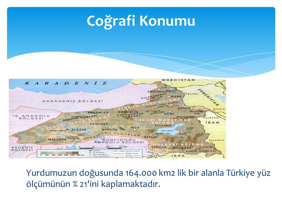 Yurdumuzun doğusunda 164.000 km2 lik bir alanla Türkiye yüz ölçümünün % 21 ini kaplamaktadır.