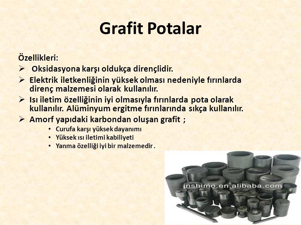 Grafit Potalar Özellikleri:  Oksidasyona karşı oldukça dirençlidir.