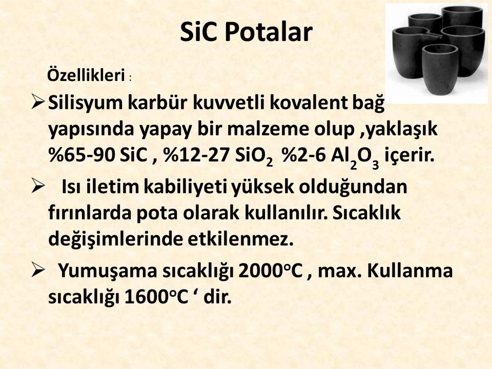 SiC Potalar  Silisyum karbür kuvvetli kovalent bağ yapısında yapay bir malzeme olup,yaklaşık %65-90 SiC, %12-27 SiO 2 %2-6 Al 2 O 3 içerir.