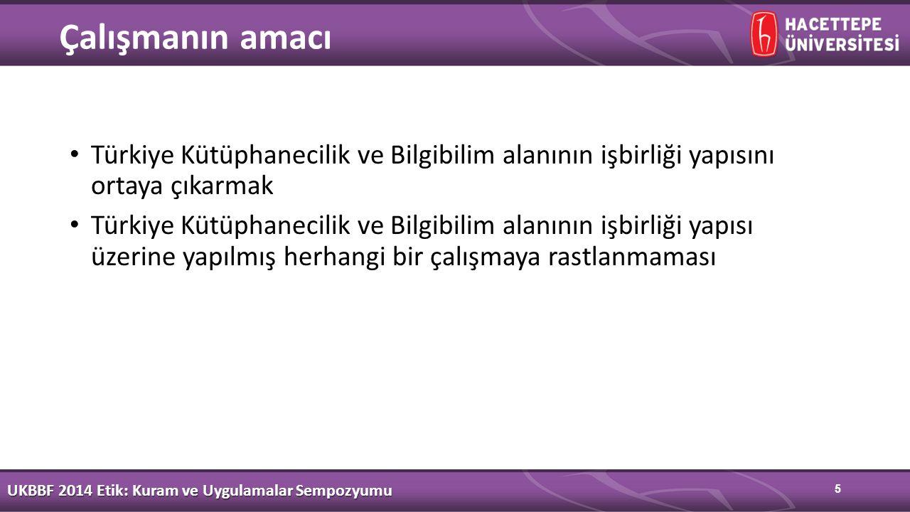 5 Çalışmanın amacı Türkiye Kütüphanecilik ve Bilgibilim alanının işbirliği yapısını ortaya çıkarmak Türkiye Kütüphanecilik ve Bilgibilim alanının işbirliği yapısı üzerine yapılmış herhangi bir çalışmaya rastlanmaması UKBBF 2014 Etik: Kuram ve Uygulamalar Sempozyumu