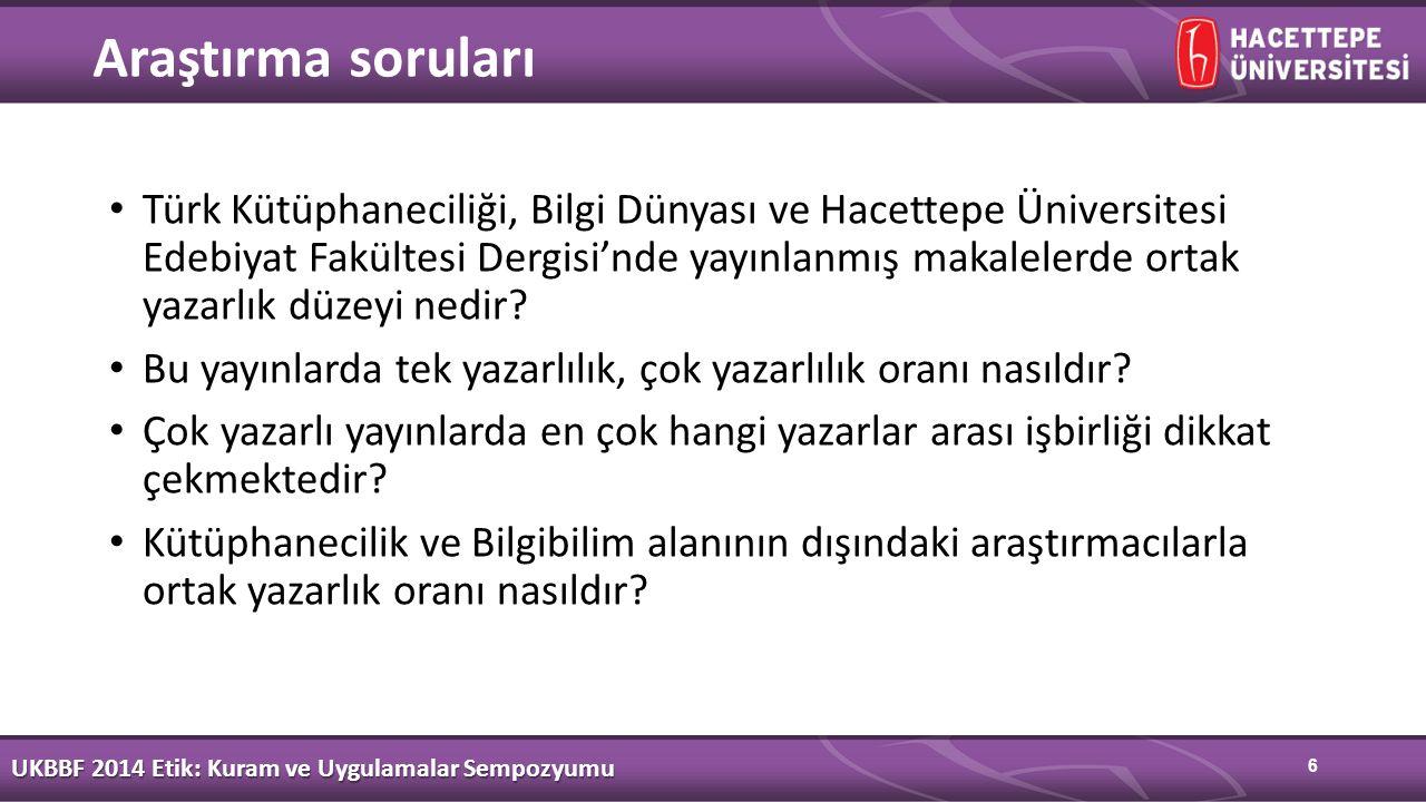 6 Araştırma soruları Türk Kütüphaneciliği, Bilgi Dünyası ve Hacettepe Üniversitesi Edebiyat Fakültesi Dergisi'nde yayınlanmış makalelerde ortak yazarlık düzeyi nedir.