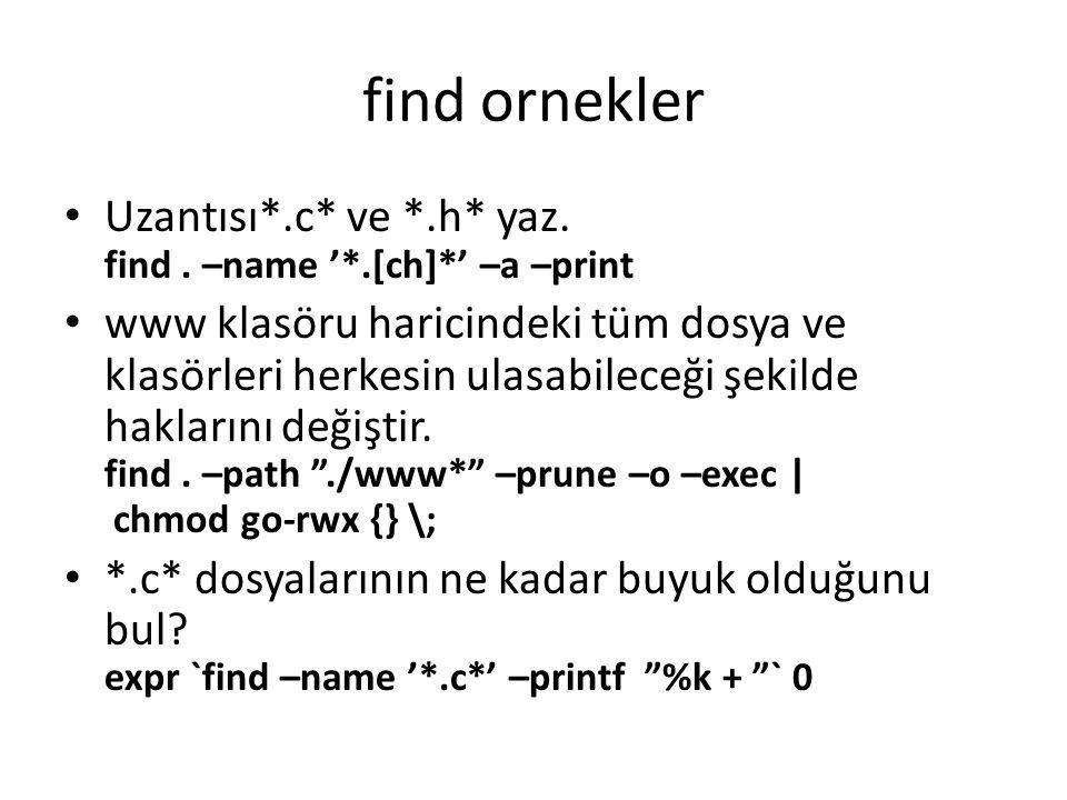 find ornekler Uzantısı*.c* ve *.h* yaz. find. –name '*.[ch]*' –a –print www klasöru haricindeki tüm dosya ve klasörleri herkesin ulasabileceği şekilde