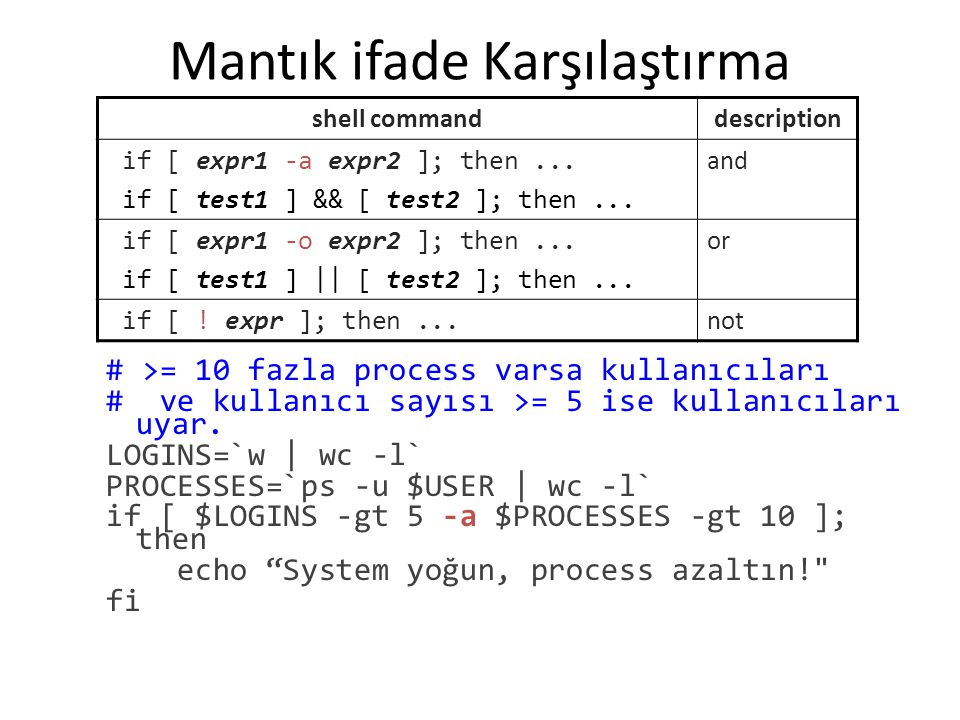 Mantık ifade Karşılaştırma # >= 10 fazla process varsa kullanıcıları # ve kullanıcı sayısı >= 5 ise kullanıcıları uyar.
