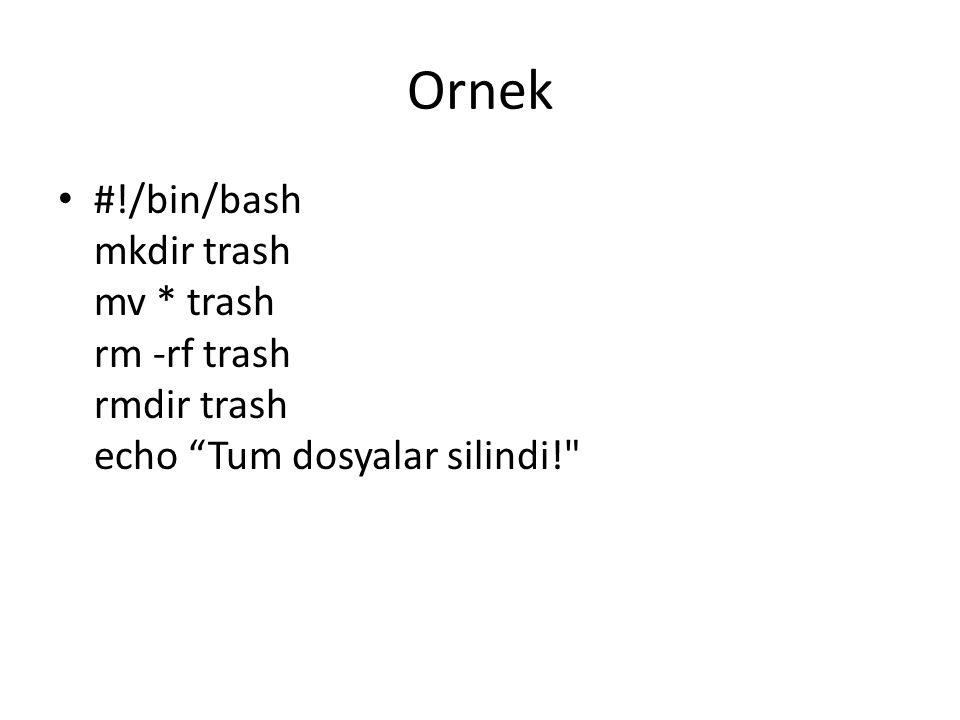 "Ornek #!/bin/bash mkdir trash mv * trash rm -rf trash rmdir trash echo ""Tum dosyalar silindi!"