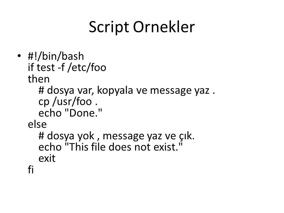 Script Ornekler #!/bin/bash if test -f /etc/foo then # dosya var, kopyala ve message yaz. cp /usr/foo. echo