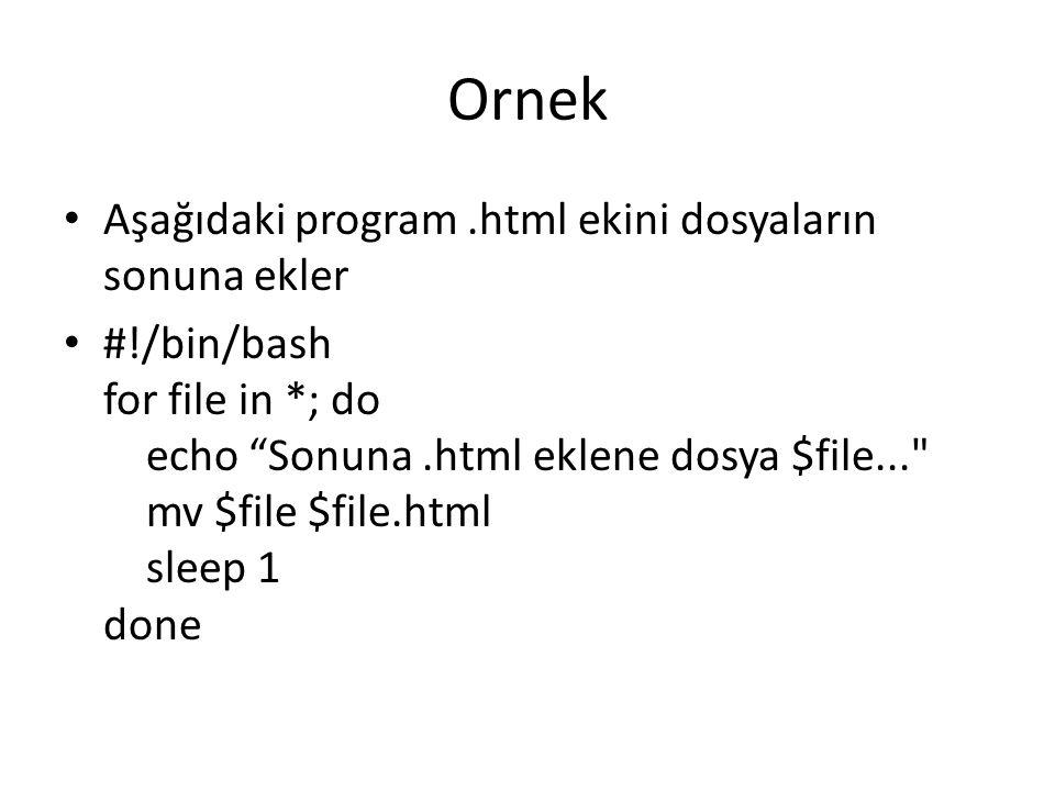 Ornek Aşağıdaki program.html ekini dosyaların sonuna ekler #!/bin/bash for file in *; do echo Sonuna.html eklene dosya $file... mv $file $file.html sleep 1 done