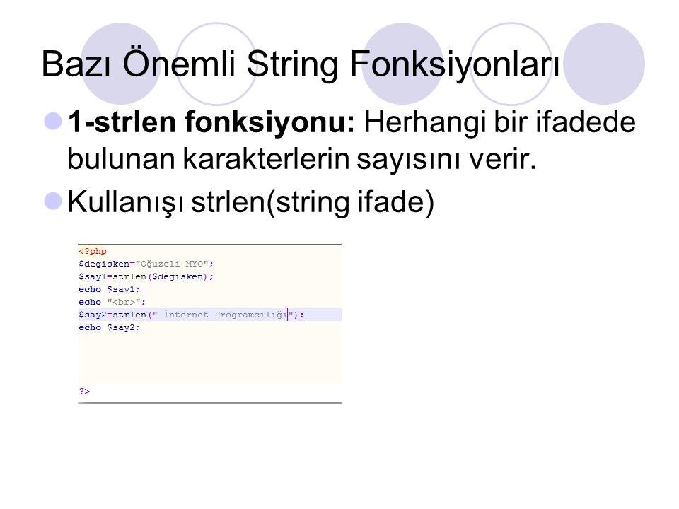 Bazı Önemli String Fonksiyonları 1-strlen fonksiyonu: Herhangi bir ifadede bulunan karakterlerin sayısını verir. Kullanışı strlen(string ifade)