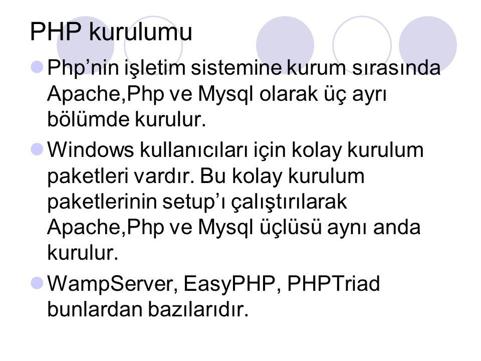 PHP kurulumu Php'nin işletim sistemine kurum sırasında Apache,Php ve Mysql olarak üç ayrı bölümde kurulur. Windows kullanıcıları için kolay kurulum pa