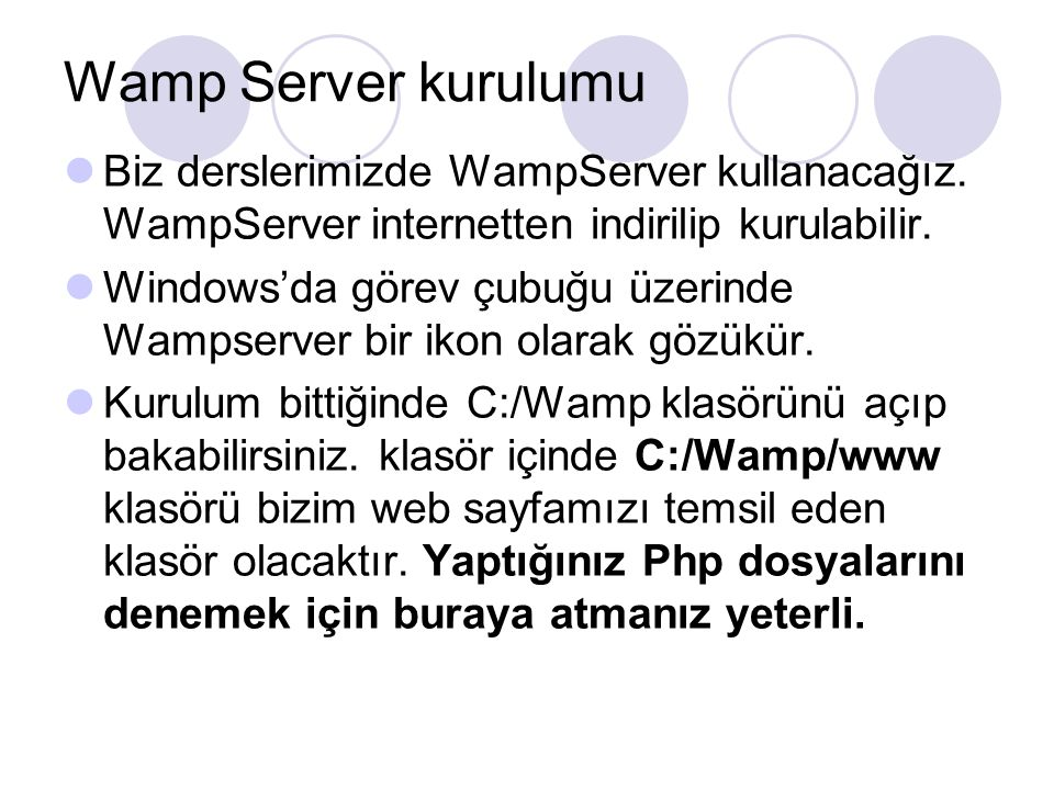 Wamp Server kurulumu Biz derslerimizde WampServer kullanacağız. WampServer internetten indirilip kurulabilir. Windows'da görev çubuğu üzerinde Wampser