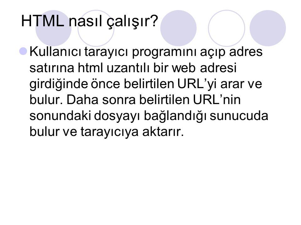 HTML nasıl çalışır? Kullanıcı tarayıcı programını açıp adres satırına html uzantılı bir web adresi girdiğinde önce belirtilen URL'yi arar ve bulur. Da