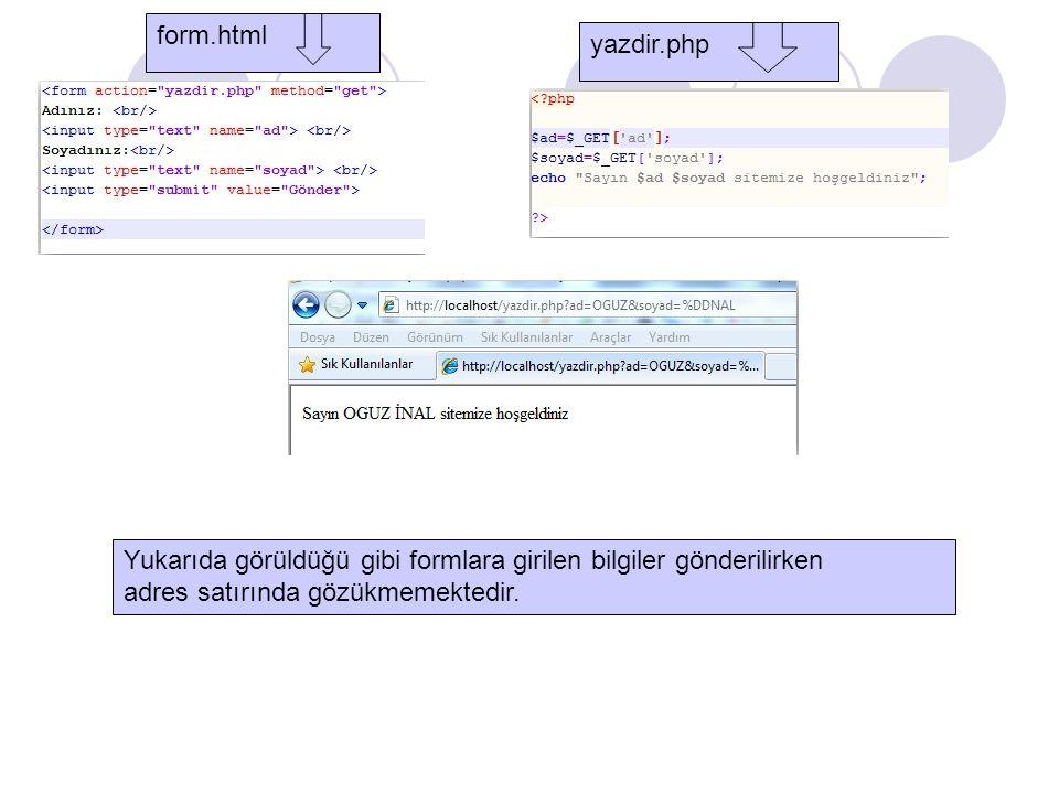 Yukarıda görüldüğü gibi formlara girilen bilgiler gönderilirken adres satırında gözükmemektedir. form.html yazdir.php