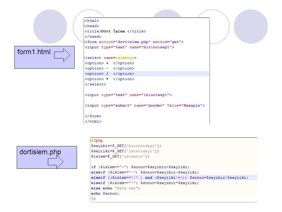 form1.html dortislem.php
