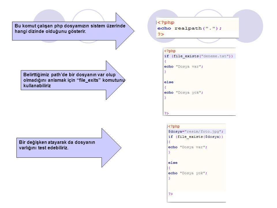 Bu komut çalışan php dosyamızın sistem üzerinde hangi dizinde olduğunu gösterir.
