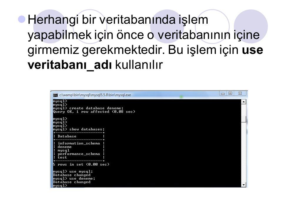 Herhangi bir veritabanında işlem yapabilmek için önce o veritabanının içine girmemiz gerekmektedir. Bu işlem için use veritabanı_adı kullanılır