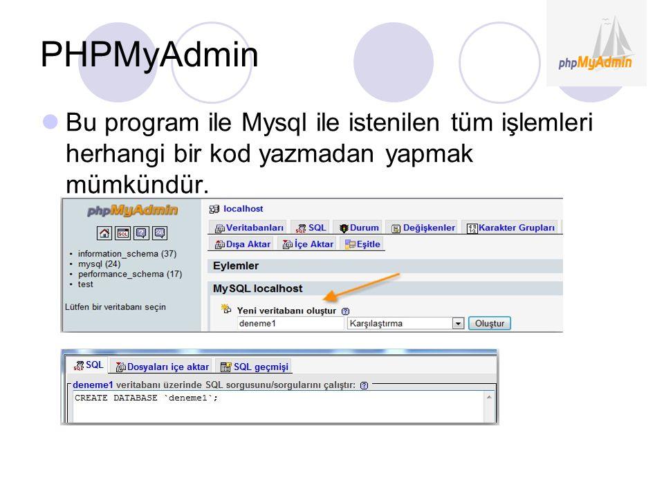 PHPMyAdmin Bu program ile Mysql ile istenilen tüm işlemleri herhangi bir kod yazmadan yapmak mümkündür.
