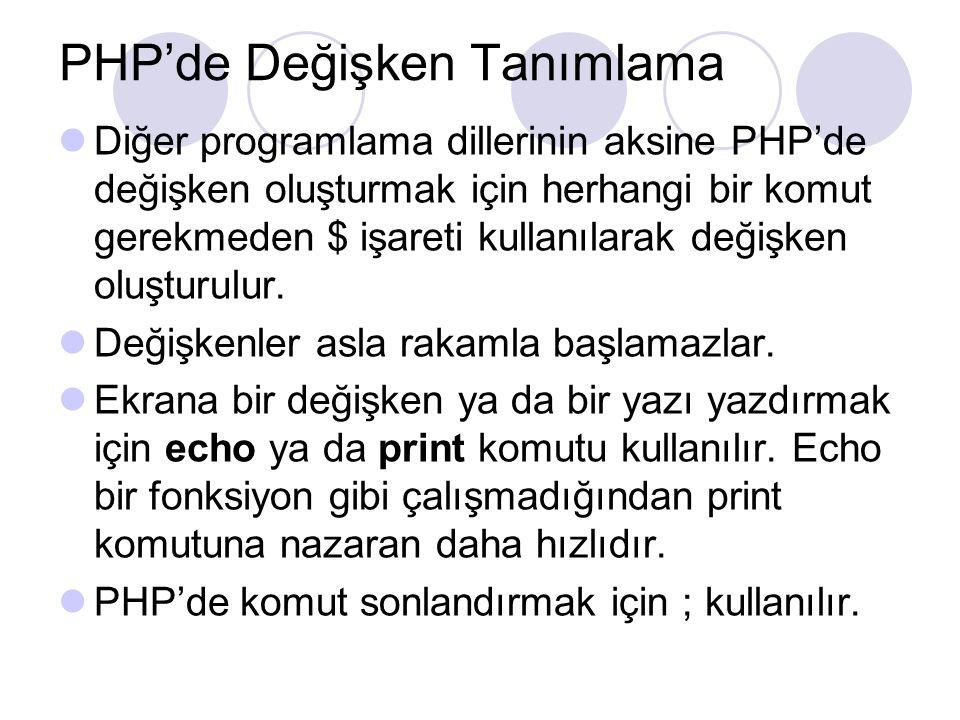 PHP'de Değişken Tanımlama Diğer programlama dillerinin aksine PHP'de değişken oluşturmak için herhangi bir komut gerekmeden $ işareti kullanılarak değişken oluşturulur.