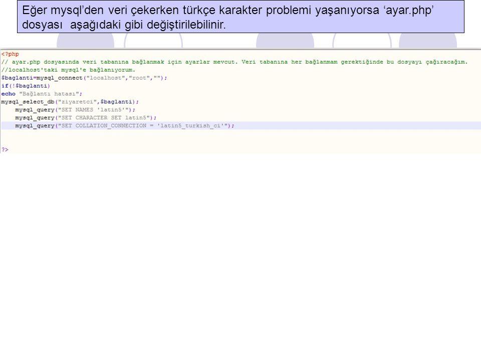 Eğer mysql'den veri çekerken türkçe karakter problemi yaşanıyorsa 'ayar.php' dosyası aşağıdaki gibi değiştirilebilinir.