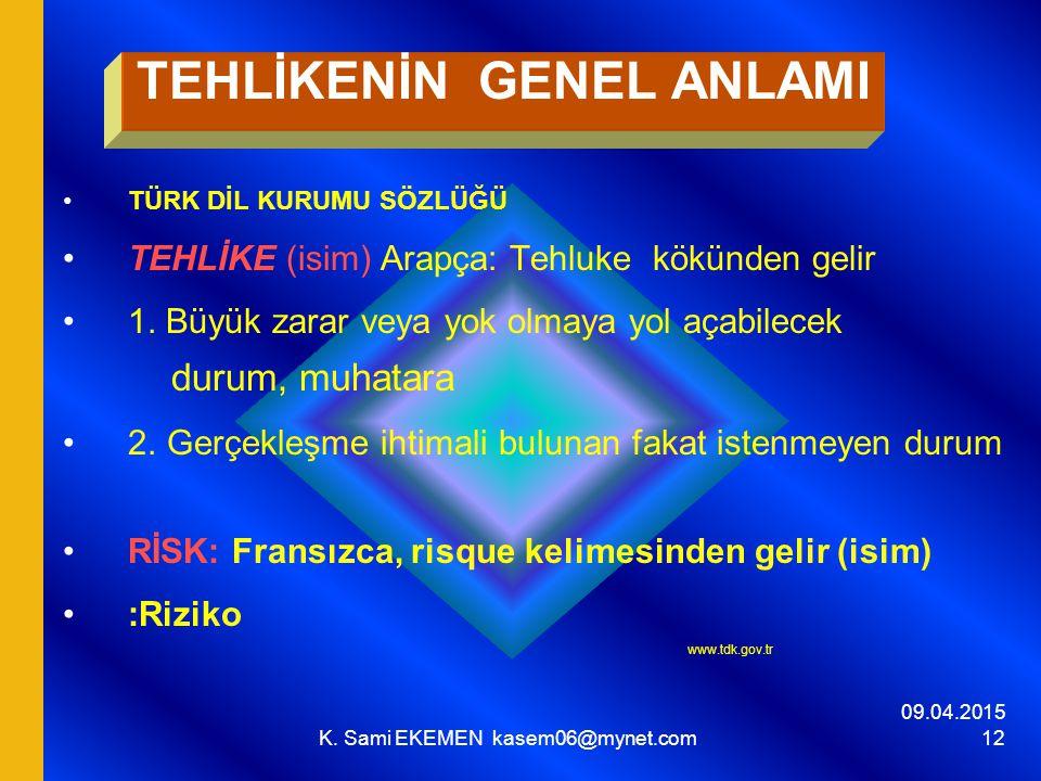 09.04.2015 K. Sami EKEMEN kasem06@mynet.com 12 TEHLİKENİN GENEL ANLAMI TÜRK DİL KURUMU SÖZLÜĞÜ TEHLİKE (isim) Arapça: Tehluke kökünden gelir 1. Büyük