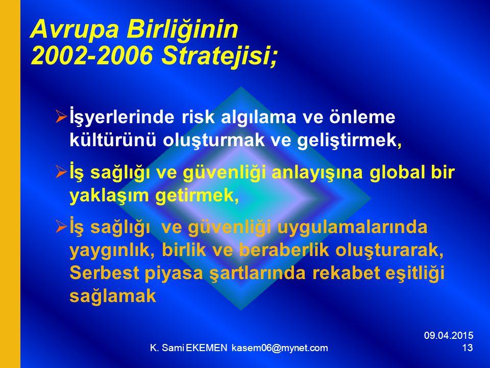 09.04.2015 K. Sami EKEMEN kasem06@mynet.com 13 Avrupa Birliğinin 2002-2006 Stratejisi;  İşyerlerinde risk algılama ve önleme kültürünü oluşturmak ve