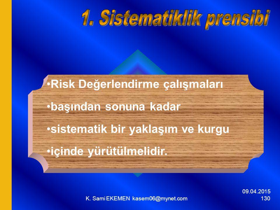09.04.2015 K. Sami EKEMEN kasem06@mynet.com 130 Risk Değerlendirme çalışmaları başından sonuna kadar sistematik bir yaklaşım ve kurgu içinde yürütülme