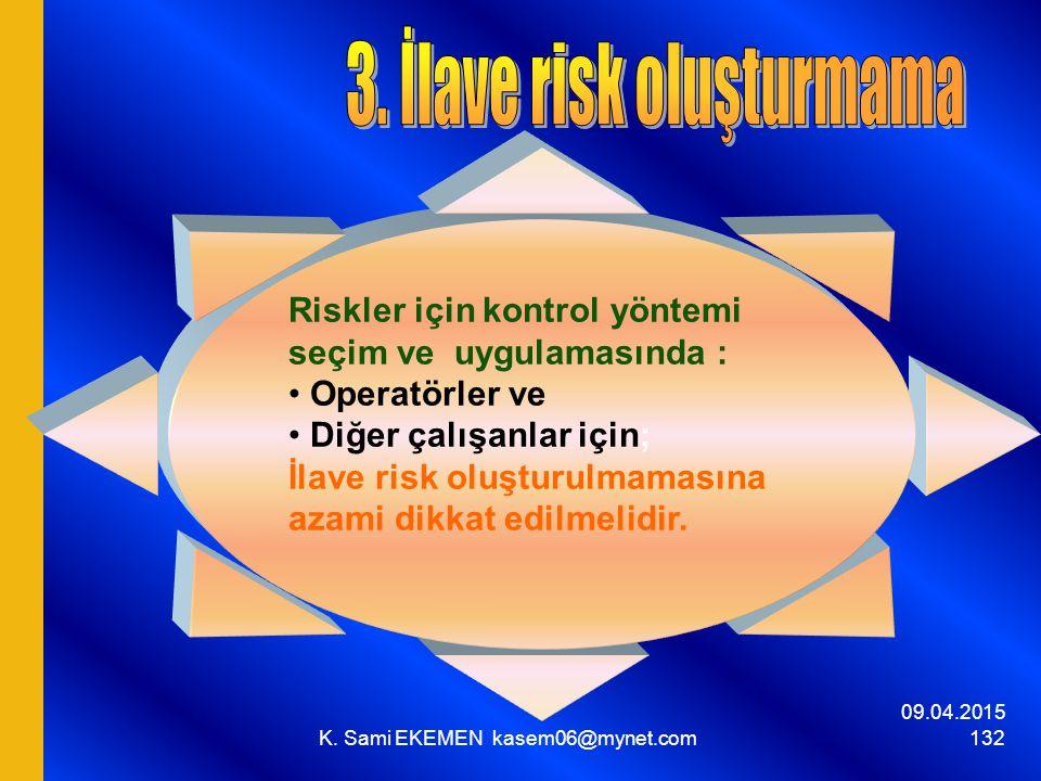 09.04.2015 K. Sami EKEMEN kasem06@mynet.com 132 Riskler için kontrol yöntemi seçim ve uygulamasında : Operatörler ve Diğer çalışanlar için; İlave risk