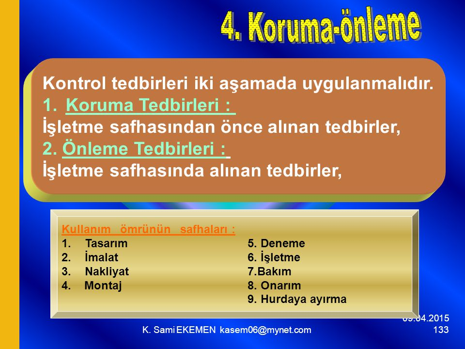 09.04.2015 K. Sami EKEMEN kasem06@mynet.com 133 Kontrol tedbirleri iki aşamada uygulanmalıdır. 1.Koruma Tedbirleri : İşletme safhasından önce alınan t