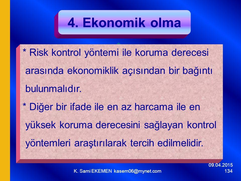 09.04.2015 K. Sami EKEMEN kasem06@mynet.com 134 4. Ekonomik olma * Risk kontrol yöntemi ile koruma derecesi arasında ekonomiklik açısından bir bağıntı