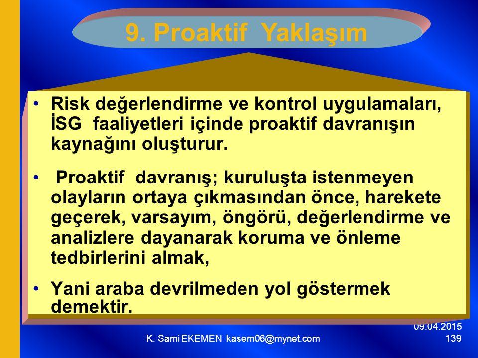 09.04.2015 K. Sami EKEMEN kasem06@mynet.com 139 9. Proaktif Yaklaşım Risk değerlendirme ve kontrol uygulamaları, İSG faaliyetleri içinde proaktif davr